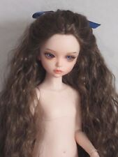 perruque longue tête17cm poupée moderne BJD-Doll wig supplies long hair sz7""