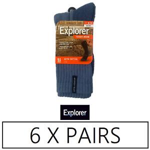 6 Pairs X Explorer Tough Work Socks Mens With Cotton Crew Blue