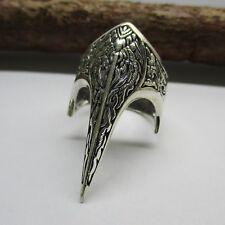 Rabe Ring Silber 925er stilisiert Vogel Schädel Krähe Wikinger Keltisch Viking