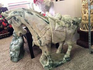 "Large 40"" Green Jade Saddled Tang Horse (LH3C)"