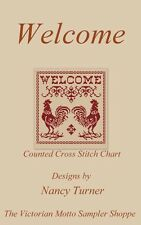 WELCOME red roosters sampler style ,counted  cross stitch chart, new