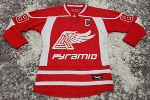 Black Pyramid Red & White TRI WING Stitched Hockey Jersey Men Size Medium