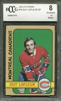 1972-73 topps #79 GUY LAFLEUR DP montreal canadiens BGS BCCG 8