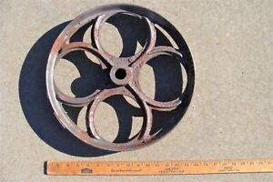 Ornate Vintage Cast Iron Pully Table Caster Wheel Steampunk Art Machine Cart Old