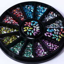 Holographic Horse Eye Nail Studs Holo Laser 3D Nail Art Decoration Tips 6 Colors