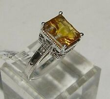 14k White Gold Diamond & Citrine Ring