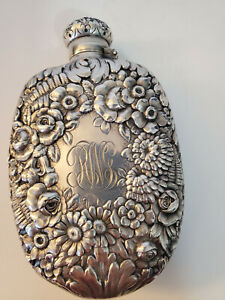 Antique Tiffany Sterling Silver Repousse Flask