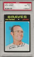 1971 TOPPS # 387 RON HERBEL, PSA 8 NM-MT, ATLANTA BRAVES, CENTERED, L@@K