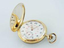 Goldene 585 Sprungdeckeltaschenuhr Savonette freie Monogrammkartusche (A1875)