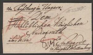 Austria 1818 entire Pressburg Hungary to Stuttgart Wurttemburg straightline seal