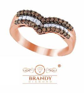 Brandy Diamond® Chocolate Brown 18k Rose Gold Silver Chevron Design Band Ring