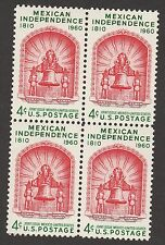 US 1157 Mexican Independence 4c block MNH 1960
