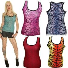 LEOPARD TIGER GOTH RACER BACK SLEEVELESS VEST TOP size 8-16 ALTERNATIVE