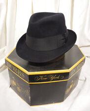 Vintage Dobbs 5th Ave Classic Black Fedora Vintage Men's Hat Size 7 w/Box
