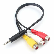 3.5mm plug Male To 3 RCA plug Female A/V Composite video Cable Adapter