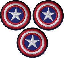 3 Pieces of Avengers Captain America Patch Iron On Sew On Comic Super Heroes