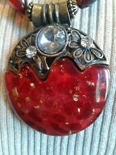 """BIG RED Chunky resin  2.5 """" pendant Statement  Necklace  w/earrings w/ 3 bangles"""