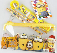 Despicable Me Minion Pencil Case Kids Cartoon Stationery Set Pouch Bag 7 in 1