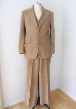 Vtg 70s Brown Corduroy 3-Pc Vest Wide Leg Flare Pants Blazer Pimp Disco Suit 42