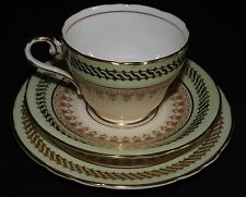 Aynsley England Salad Plate, Cup & Saucer -Green Gold Cream