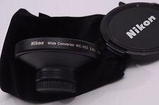 MINT- NIKON WC-E63 WIDE ANGLE CONVERTER .63X, w/CAPS, POUCH