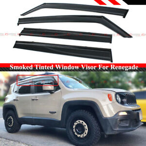 FOR 2015-2020 JEEP RENEGADE SMOKED CLIP-ON WINDOW VISOR RAIN GURAD W/ BLACK TRIM