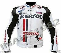 HONDA REPSOL LEATHER Motorcycle JACKET WHITE & BLACK ( CHOWHIDE LEATHER)