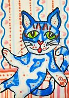 Blue Willow Cat ACEO Art Card Print by Artist KSams Collectible 2.5 x 3.5