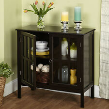 Black Display Cabinet Case Glass Doors Shelf Dining Room China Storage Organizer