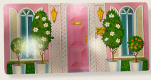 Barbie 1984 Glamour Home House Wall Panel Cardboard Front Door Kitchen Fireplace