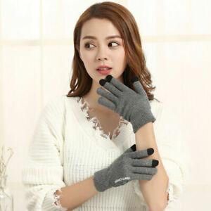 Unisex Couple Gloves Women Men Knitted Touch Screen Full Finger Winter Warmer