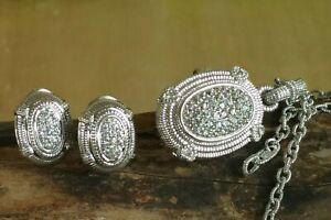 Judith Ripka Set : White Sapphire Earrings And Pendant/Enhancer W/Chain Sterling