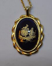 Vintage signed Limoges Castel France blue porcelain gold tone pendant necklace