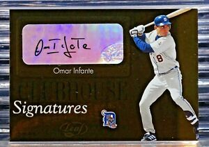2003 Leaf Omar Infante 5 RC Clubhouse Signatures Autograph Tigers Rookie Braves