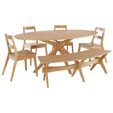 Solid White Oak Veneer Oval Dining Table and Chair Set with 4 Seats & Bench