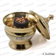 Small Mother of Pearl Brass Charcoal Burner Incense Burner Pot Bowl Lid + ROCKS