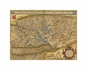 Maps Old Vintage Hungary Wolfgang Lazius Austrian Canvas Print