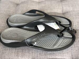 Crocs Athens Thong Flip Flop Sandal Unisex US Women 12 Men 10 Nwt Black Grey
