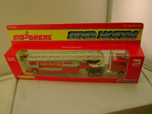 """MAJORETTE SUPER MOVERS #612 F.D.N.Y. SEMI FIRE ENGINE WITH LADDER TRAILER 8"""" NEW"""