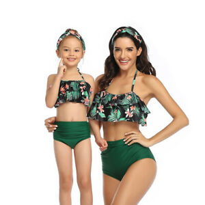 Mother and Daughter Swimsuit Printing Bikini Clothes Dresses Kid Family Swimwear