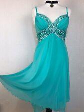 JANE NORMAN Green Blue Chiffon Dress 12 38 Cross Bust Floral Sequin Short NWT