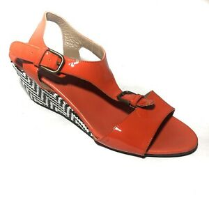 ANYI LU Sandals Lolita Ankle Strap Wedge Red Patent Leather T-Strap Size 38