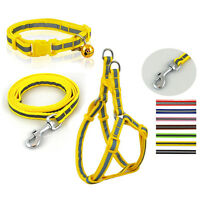 Reflective Nylon Strap Puppy Dog Collar Leash and Harnesses Set for M Breeds