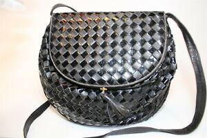 Bottega Veneta Italy Made Black Woven Intrecciato Leather Crossbody Satchel Bag