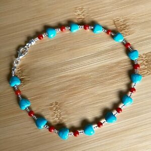 Handmade Anklet Turquoise Magnesite Heart Beads with Coral Silver Tone