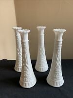 "SET OF 4 Vintage Anchor Hocking STARS & BARS (1071) 9"" White Milk Glass Vases"
