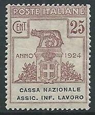 1924 REGNO PARASTATALI CASSA NAZIONALE LAVORO 25 CENT MNH ** - M46-4