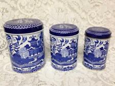 Vintage, Rare, English, 3pc  Blue Willow Tin Canister Set  6in T, 5.5in T, 5in T