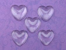 """10 Heart Glass Dome Cabochons - 1 inch - 25mm - Clear Magnifying Bead Cab 1"""""""