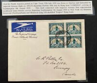 1939 Capetown South Africa First Trans Atlantic Flight Cover to Winnipeg Canada